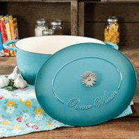 THE PIONEER WOMAN TIMELESS BEAUTY TEAL 7-QUART DUTCH OVEN WITH DAISY AND BAKELITE KNOB Teal