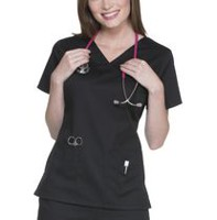 Scrubstar Women's Core Essentials V-Neck Scrub Top Black M