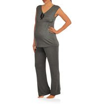 Nurture by Lamaze Women's Maternity / Nursing Sleep Set Grey Medium