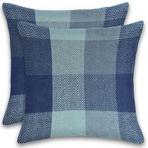 Herringbone Check Cotton Cushions Set of 2 Poly Filled With Zipper Machine Washable