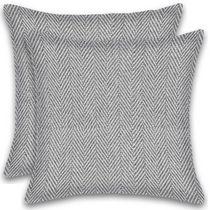 Herringbone Stripe Cotton Cushions Set of 2 Poly Filled With Zipper Machine Washable