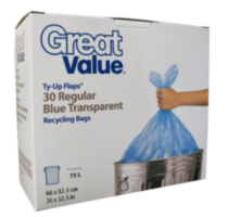 Great Value Ty-Up Flaps ® Regular Blue Recycling Bags