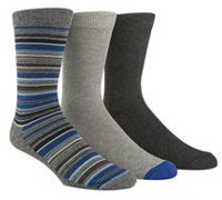 Happy Foot by McGregor Men's 3-Pair Multi-Stripe Crew Socks Charcoal Heather, Grey Heather, Graphite Heather