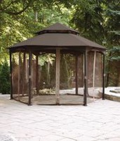 hometrends 12' Valence Gazebo-Brown