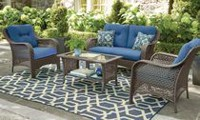 hometrends Tuscany 4-Piece Conversation Set Blue