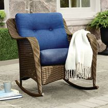 hometrends Tuscany Wicker Rocking Chair Blue