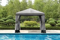 hometrends 10' Valence Gazebo- Grey