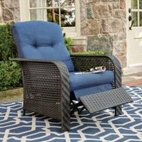 hometrends Tuscany Wicker Recliner Blue