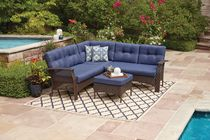 hometrends Tuscany 4 Piece Sectional Set Blue