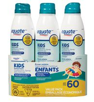Equate Continuous Spray Sunscreen SPF 60, 3 Pack