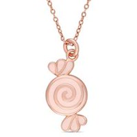 Cutie Pie Jewels Rose Rhodium-Plated Sterling Silver Children's Candy Pendant, 14""