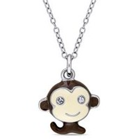 Cutie Pie Jewels 0.04 Carat T.G.W. Swarovski Crystal Sterling Silver Children's Monkey Pendant, 14""