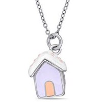 Cutie Pie Jewels Sterling Silver Children's Dog House Pendant, 14""