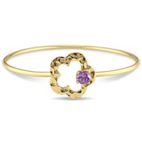 Tangelo 0.75 Carat T.G.W. Amethyst Yellow Rhodium-Plated Sterling Silver Flower Bangle Bracelet, 8""