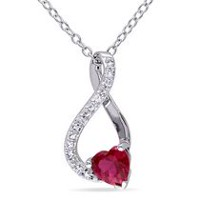 Tangelo 0.60 Carat T.G.W. Created Ruby and Diamond-Accent Sterling Silver Infinity Heart Pendant, 18""
