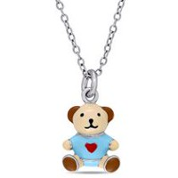 Cutie Pie Jewels Sterling Silver Children's Teddy Bear Pendant, 14""