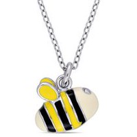 Cutie Pie Jewels 0.04 Carat T.G.W. Swarovski Crystal Sterling Silver Children's Bee Pendant, 14""