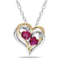 Tangelo 1.17 Carat T.G.W. Created Ruby and Diamond-Accent Two-Tone Sterling Silver Double-Heart Pendant, 18""