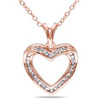Miabella Diamond-Accent Rose Rhodium-Plated Sterling Silver Heart Pendant, 18""