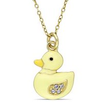 Cutie Pie Jewels 0.08 Carat T.G.W. Swarovski Crystal Yellow Rhodium-Plated Sterling Silver Children's Duck Pendant, 14""