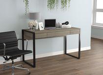 Safdie & Co. Computer Desk 50L Dark Taupe 3 Drawers Black Metal