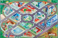 hometrends Kids' City Track Polyester Rectangle Rug