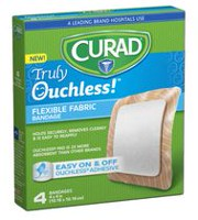 "Curad Truly Ouchless Flexible 4"" x 4"" Fabric Bandage"
