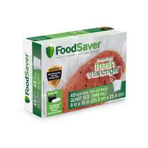 FoodSaver 1-Quart Precut Vacuum Seal Bags with BPA-Free Multilayer Construction for Food Preservation, 48 Count