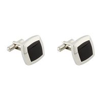 Men's Stainless Steel Black Square Cufflinks