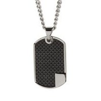 Men's Stainless Steel Dog Tag Pendant with Chain
