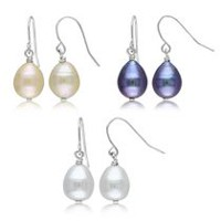 Tangelo 9-10mm Multi-Colored Cultured Freshwater Pearl Dangle Earrings, Set of 3