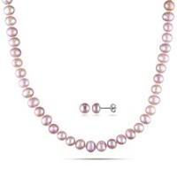 Tangelo 7-8mm Pink Cultured Freshwater Pearl Sterling Silver Strand Necklace and Stud Earrings Set