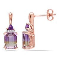 Tangelo 3-1/4 Carat T.G.W. Ametrine Amethyst and Diamond-Accent Rose-Rhodium Plated Sterling Silver Earrings