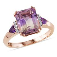 Tangelo 3-1/2 Carat T.G.W. Ametrine Amethyst and Diamond-Accent Rose Rhodium-Plated Sterling Silver Three Stone Cocktail Ring 5