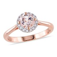 Tangelo 4/5 Carat T.G.W. Morganite and Diamond-Accent Rose Rhodium-Plated Sterling Silver Halo Ring 5