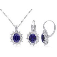 Tangelo 12-1/10 Carat T.G.W. Created Blue and White Sapphire with Diamond-Accent Sterling Silver Floral Pendant and Earrings Set