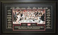 Chicago Blackhawks – Framed 2010 Stanley Cup Team Etched Signatures Featuring Game Used Net