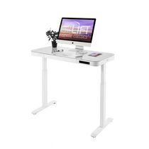 Seville Classics OFF65873 - AIRLIFT ELECTRICAL OFFICE ADJUSTABLE IN HEIGHT WITH GLASS PLATE
