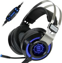 ENHANCE Scoria USB PC Gaming Headset with 7.1 Surround Sound, Bass Vibration, Adjustable LED Lighting, Volume Control, and Retractable Microphone - TeamSpeak Certified