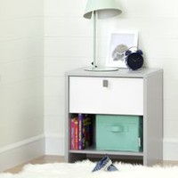 South Shore Cookie 1-Drawer Nightstand, Soft Gray and Pure White