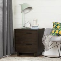South Shore Fynn 2-Drawer Nightstand, Brown Oak
