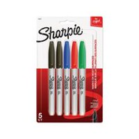 Marqueurs permanents Sharpie, pointe fine, assorties, paquet de 5