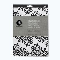 Home Trends PEVA tablecloth 52x70 52inx70in Black / White Damask
