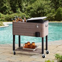 Sunjoy Alabama Collection 80 Quart Rolling Ice Chest Portable Patio Party Drink Cooler Cart