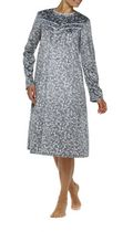 George Women's Fleece High Neck Long Sleeve Gown Grey/Blue 1x
