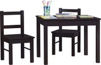 3 Piece Kid's Wood Table and Chair Set Espresso