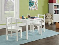 3 Piece Kid's Wood Table and Chair Set White