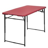 Cosco 4' Adjustable Folding Table Red