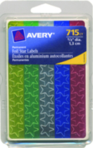 Avery® Assorted Foil Star Labels - 715's