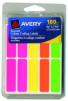 "Avery® Removable Colour Coding Labels, Assorted, 06724, 1/2"" x 1-3/4"", 180 labels/pkg"